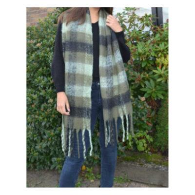 Sjaal Winter Blocks groen groene warme wollen winter sjaals omslagdoeken lange trendy sjaals kopen bestellen