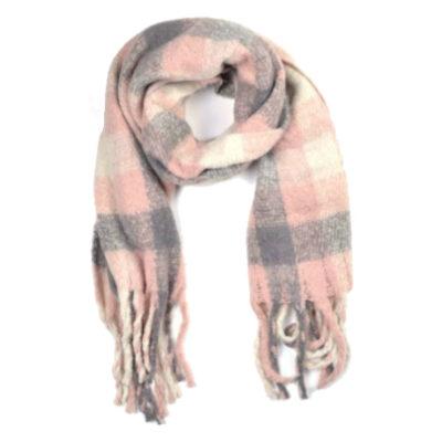 Sjaal Winter Blocks roze grijze warme wollen winter sjaals omslagdoeken lange trendy sjaals kopen bestellen