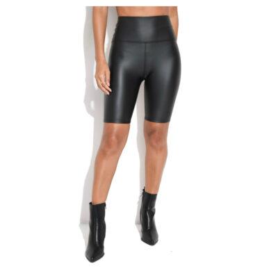 Zwarte Leatherlook Bikershort zwart korte leren wielrenbroeken korte leggings leder bestellen kopen