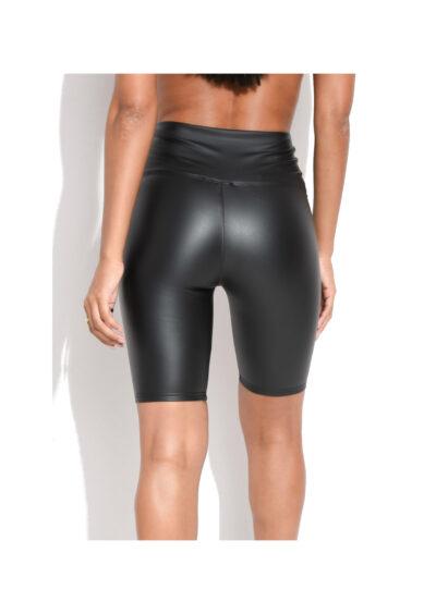Zwarte Leatherlook Bikershort zwart korte leren wielrenbroeken korte leggings leder bestellen kopen achter