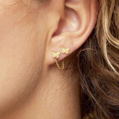 Oorbellen My Butterfly goud gouden dames oorbellen earrings vlinder bedel rvs sieraden bestellen