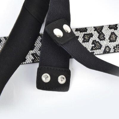 Elastische Riem Leopard Stones bruin grijs dames riemen met bling steentjes accessiores bestellen kopen achter