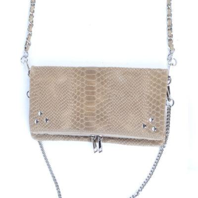 Leren Schoudertas pretty Snake taupe trendy leren slangenprint tassen zilveren kettighengsel look a like kopen
