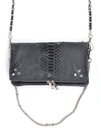 Leren Schoudertas pretty Snake zwart zwarte trendy leren slangenprint tassen zilveren kettighengsel look a like kopen