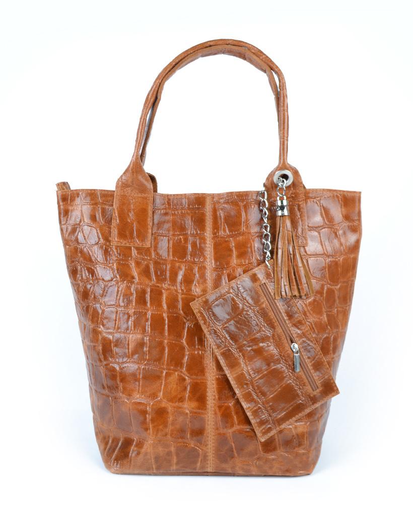 Leren Shopper Croco Tassle camel cognac tassen met kwastje en etui lederen giuliano tas kopen bestellen