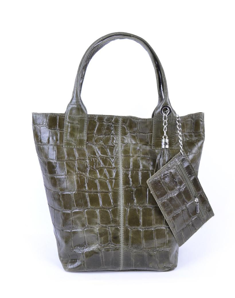 Leren Shopper Croco Tassle groen groene tassen met kwastje en etui lederen giuliano tas kopen bestellen