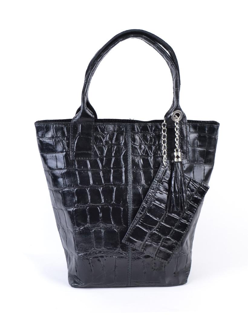 Leren Shopper Croco Tassle zwart zwarte tassen met kwastje en etui lederen giuliano tas kopen bestellen