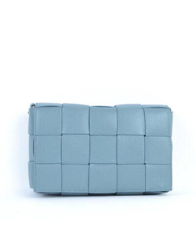 Leren Tas-Big Braided blauw blauwe leren leer look a like gevlochten leren schoudertassen met binnentas kopen