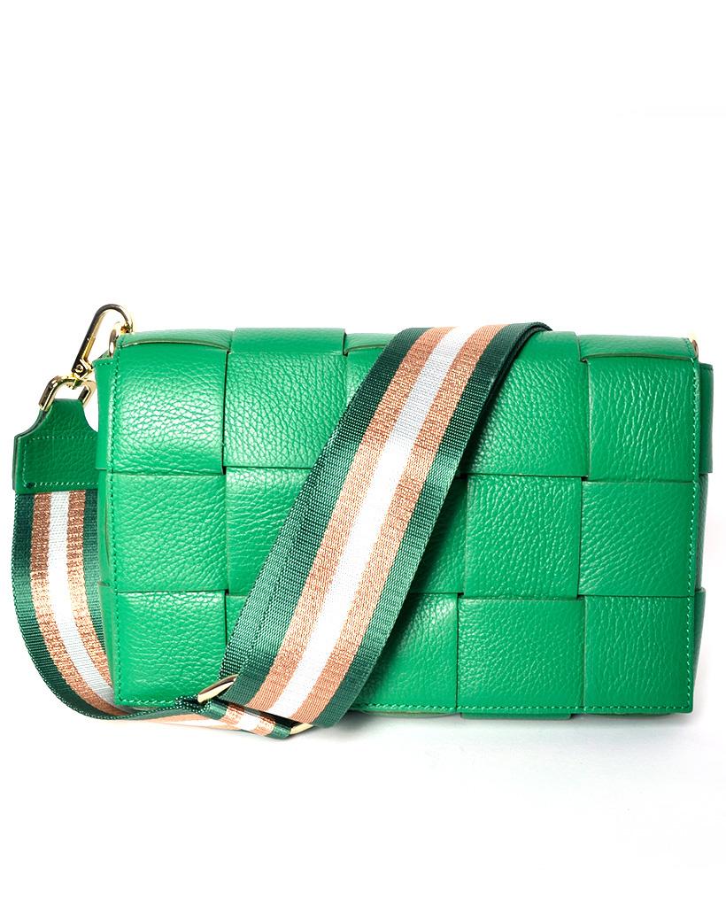 Leren-Tas-Big-Braided-groen groene-leer-look-a-like-gevlochten-leren-schoudertassen-met-binnentas-kopen-musthave bestellen
