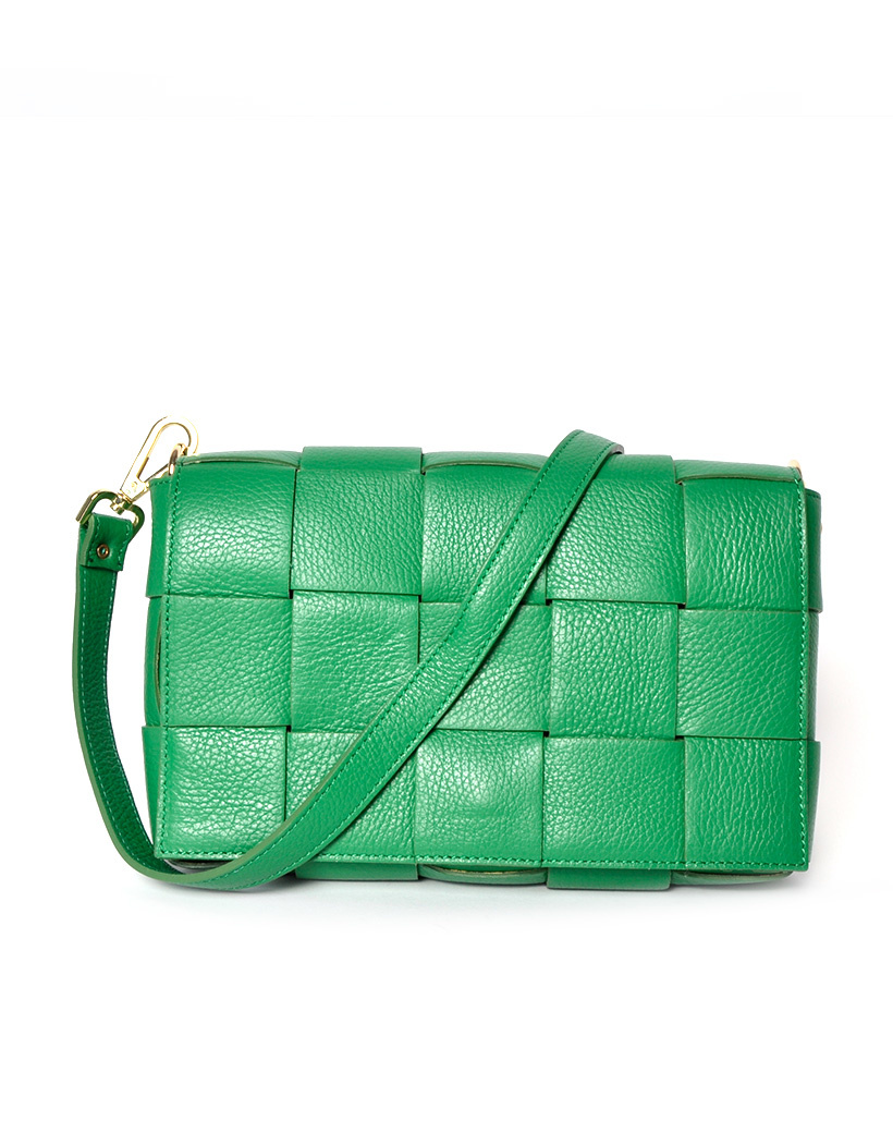 Leren-Tas-Big-Braided-groen groene-leer-look-a-like-gevlochten-leren-schoudertassen-met-binnentas-kopen-musthave