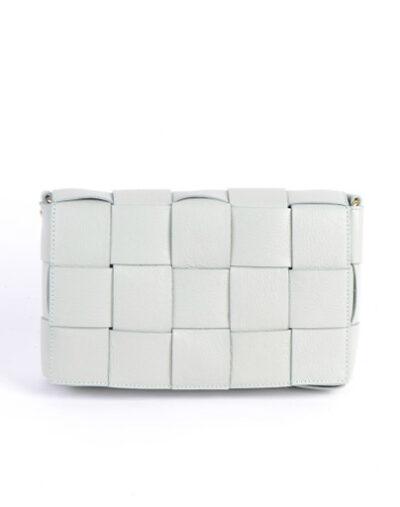 Leren Tas-Big Braided wit witte leren leer look a like gevlochten leren schoudertassen met binnentas kopen