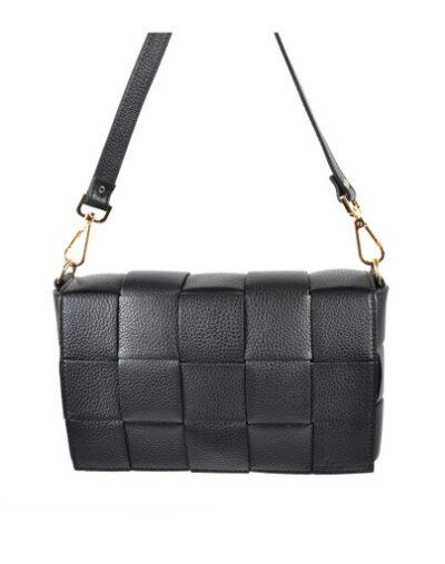 Leren Tas-Big Braided zwart zwarte leer look a like gevlochten leren schoudertassen met binnentas kopen