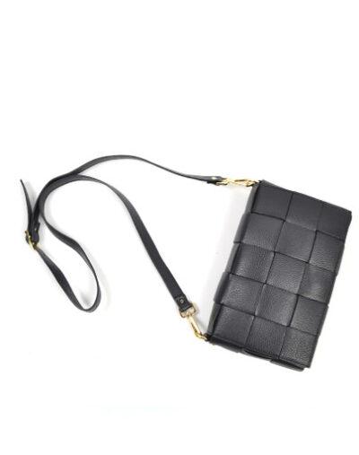 Leren Tas-Big Braided zwart zwarte leer look a like gevlochten leren schoudertassen met binnentas kopen musthave
