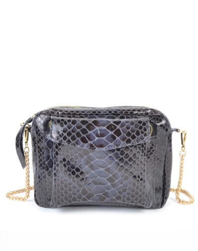 Leren Tas Snake Chain blauw blauwe trendy leren slangenprint tassen met gouden kettinghengsel leder look a like tassen kopen bestellen