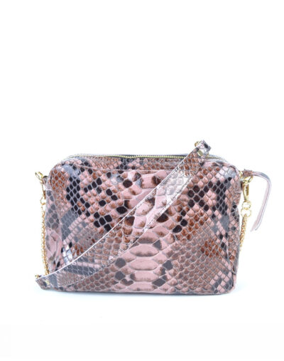 Leren Tas Snake Chain pink roze trendy leren slangenprint tassen met gouden kettinghengsel leder look a like tassen kopen bestellen