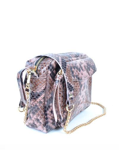 Leren Tas Snake Chain pink roze trendy leren slangenprint tassen met gouden kettinghengsel leder look a like tassen kopen bestellen zij