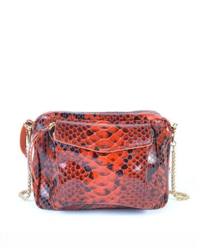 Leren Tas Snake Chain rood rode trendy leren slangenprint tassen met gouden kettinghengsel leder look a like tassen kopen bestellen