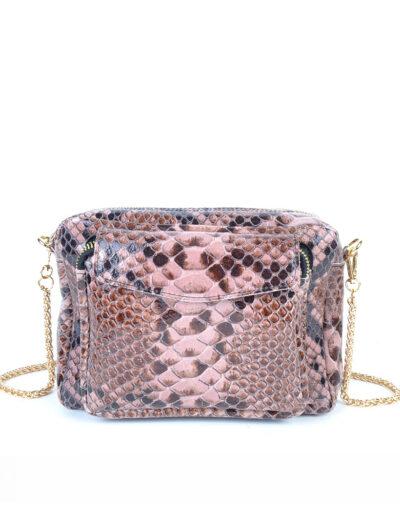 Leren Tas Snake Chain roze pink trendy leren slangenprint tassen met gouden kettinghengsel leder look a like tassen kopen bestellen