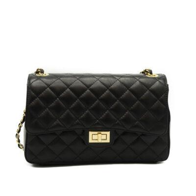 Leren-tas-coco-zwart-zwarte-Chanel-look-a-like-2.55-musthave-lederen-dames-tassen-gouden kettinghengsel-online-kopen