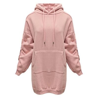 Oversized Sweaterdress Bow roze pink lange dames truien capuchon pofmouwen met koord kopen bestellen
