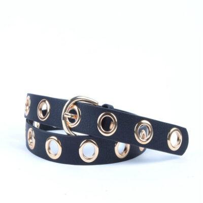 Riem Fancy Holes zwart zwarte dames riemen gouden metalen gaatjes fashion trendy riemen bestellen kopen musthave