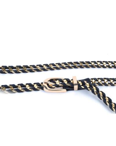 Riem Gold Braided zwart zwarte met gouden dunne fashion trendy dames riemen kopen bestellen
