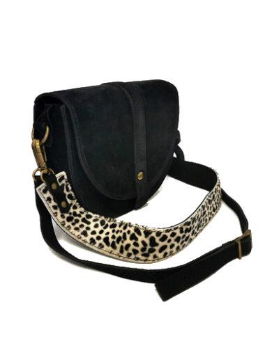 Suede-Schoudertas-Half-Rond-Cheeta zwart zwarte leren-lederen-tassen-half-festival-giuliano-bags-goedkope-dames-online
