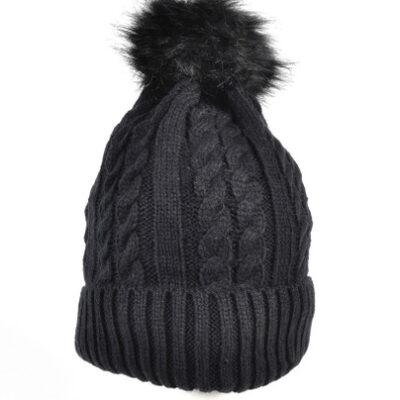 Zwarte Kabel Muts zwart gevoerde warme musten met wollen bolletje winteraccessoires kopen bestellen