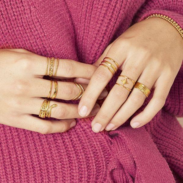 Brede Ring Layers goud gouden trendy lagen ringen dames open ringen fashion yehwang sieraden kopen
