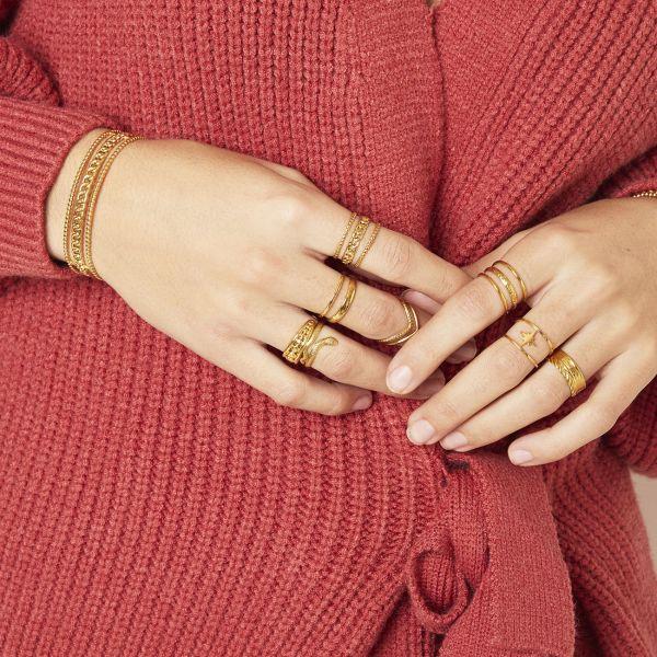 Brede Ring Sophie goud gouden trendy lagen ringen schakelketting detail yehwang sieraden kopen bestellen