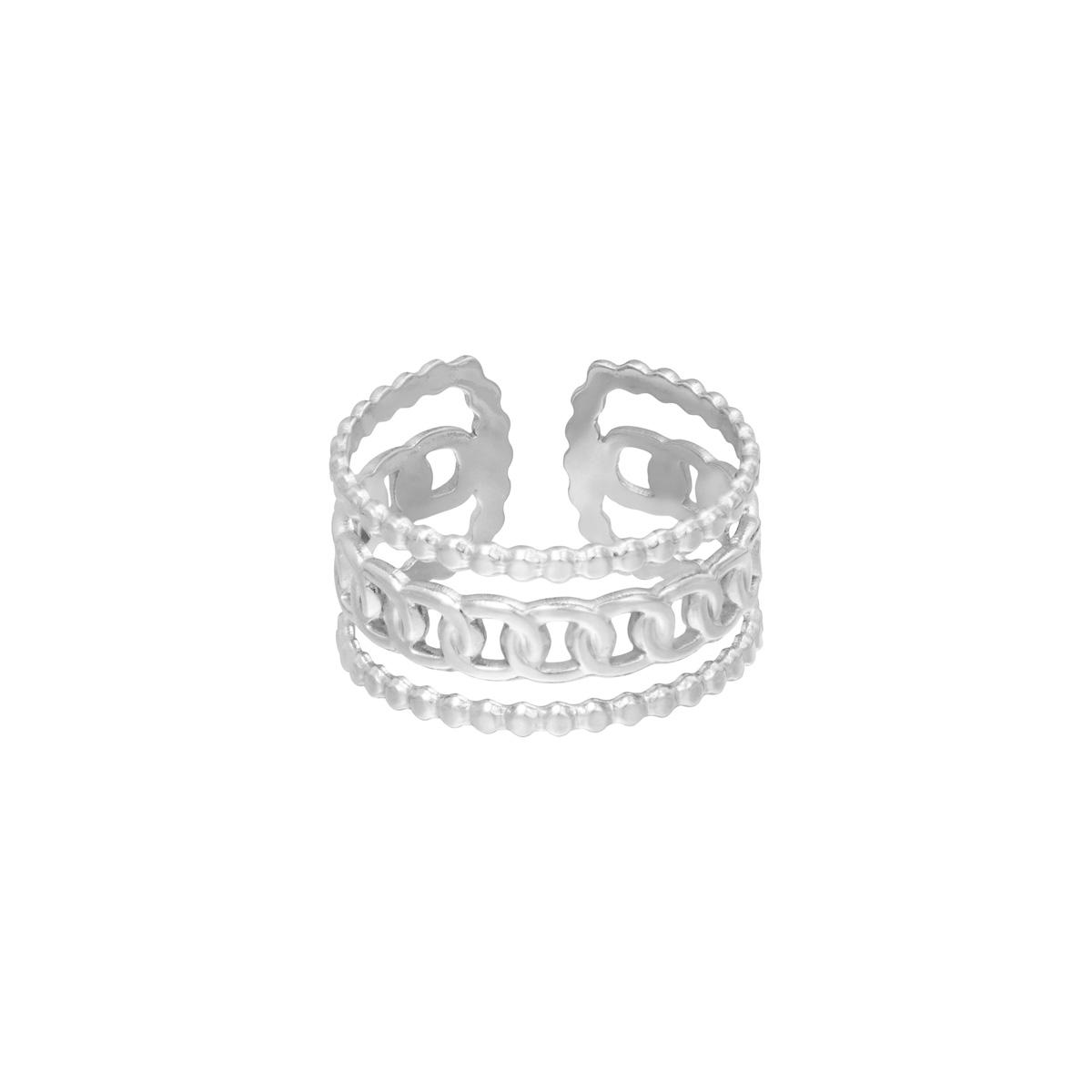 Brede Ring Sophie zilver zilveren trendy lagen ringen schakelketting detail yehwang sieraden kopen bestellen