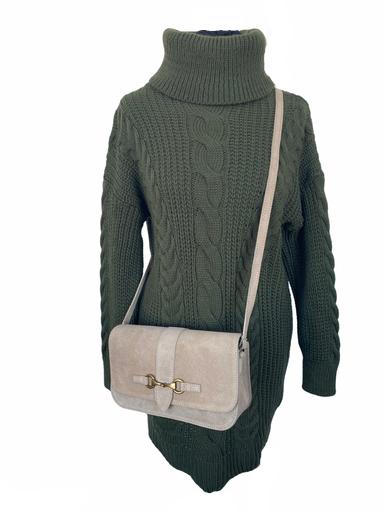 Jurk Billy groen groene kabeljurk met col warme winter jurken dames kleding lange truien warme jurken kopen bestellen (1)