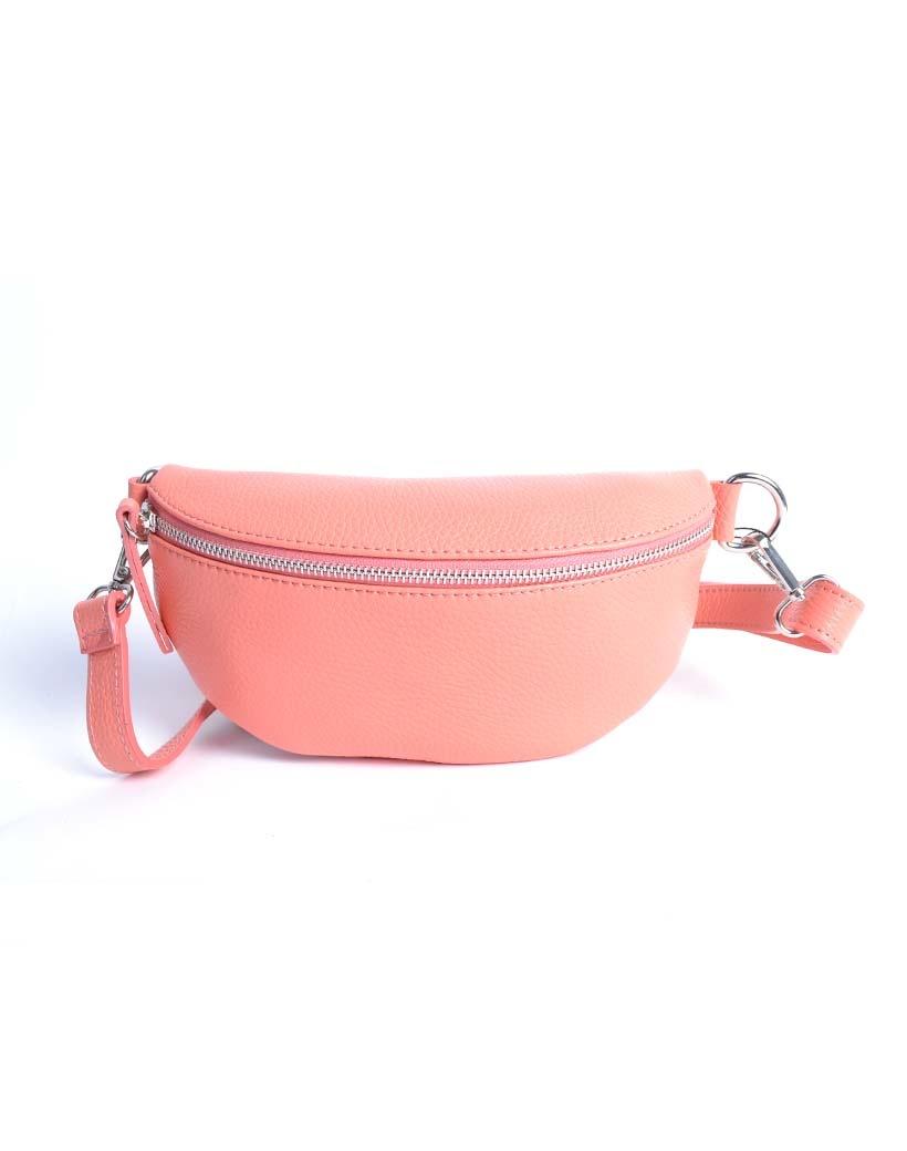 Leren-Schoudertas-Faya-groen koraal simpele-crossbody tassen buideltassen schoudertas-rits-giuliano-tassen-online-kopen-bestellen-goedkope-lederen-tassen