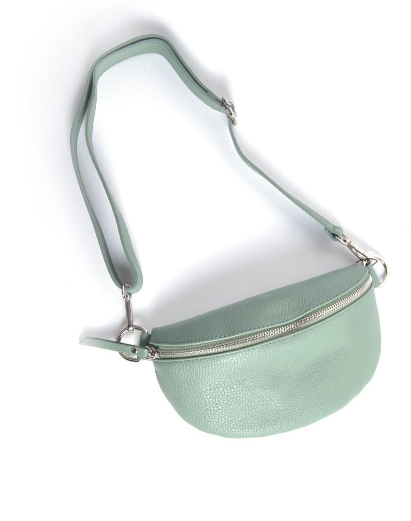 Leren-Schoudertas-Faya-groen mos groene crossbody tassen buideltassen simpele-schoudertas-rits-giuliano-tassen-online-kopen-bestellen-goedkope-lederen-tassen