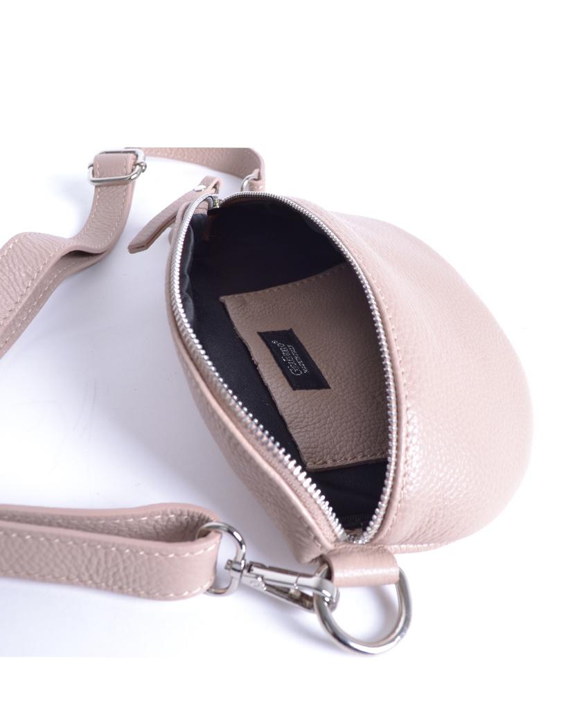 Leren Schoudertas Faya nude trendy lederen schoudertassen zilveren rits giuliano tassen kopen online open