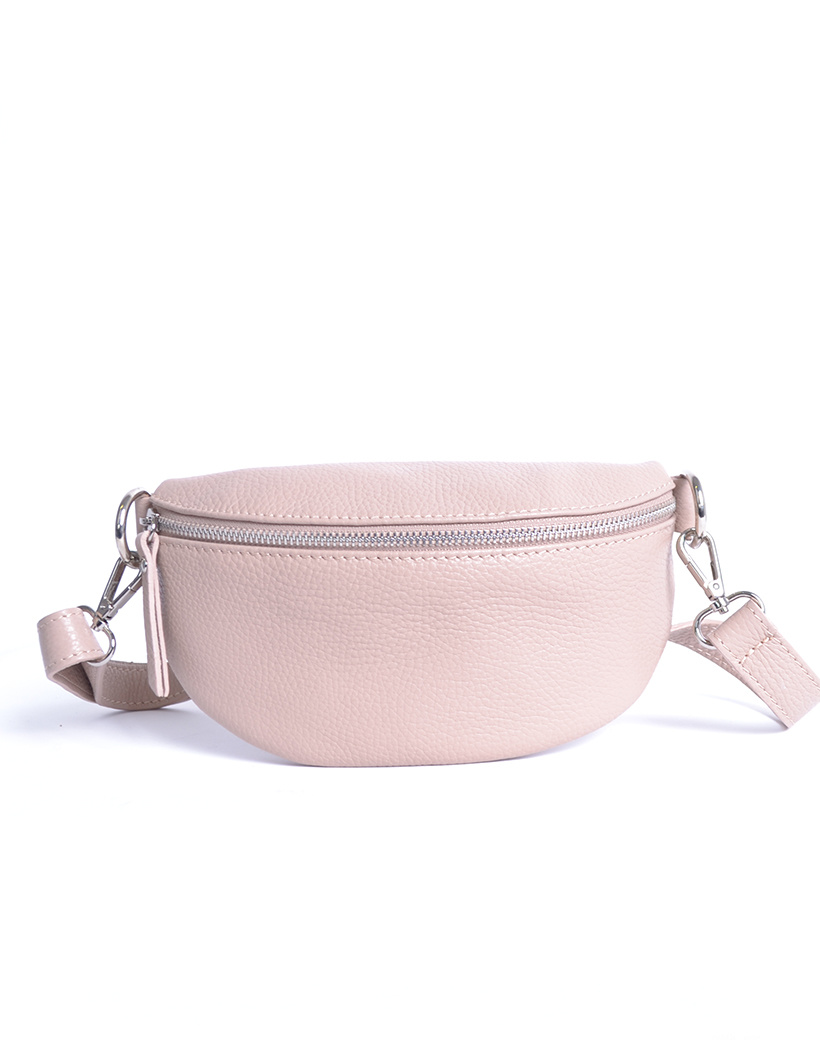 Leren Schoudertas Faya nude trendy lederen schoudertassen zilveren rits giuliano tassen kopen online
