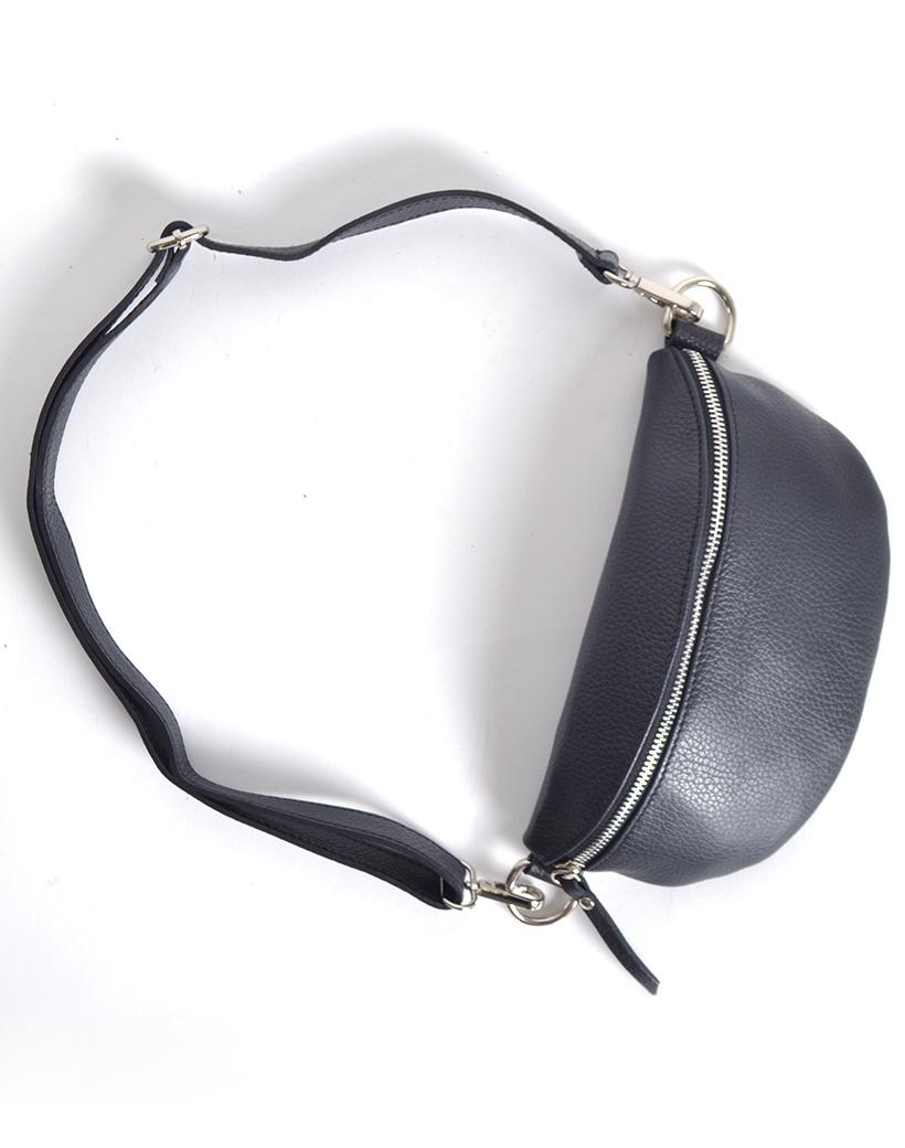 Leren Schoudertas Faya zwart zwarte trendy lederen schoudertassen zilveren rits giuliano tassen kopen online trends