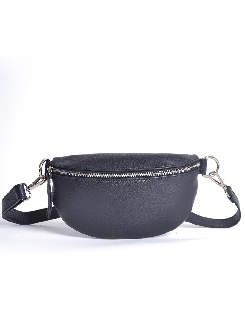 Leren Schoudertas Faya zwart zwarte trendy lederen schoudertassen zilveren rits giuliano tassen kopen online