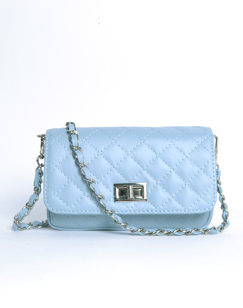 Leren Schoudertas My Coco licht blauw blauwe look a like tassen met stiksels quilted giuliano tas doorregen kettinghengsel kopen