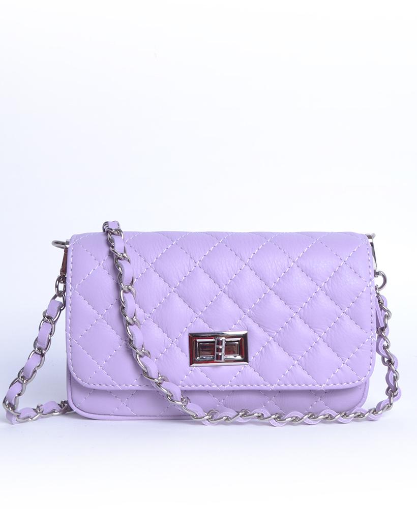 Leren Schoudertas My Coco lila paars look a like tassen met stiksels quilted giuliano tas doorregen kettinghengsel kopen
