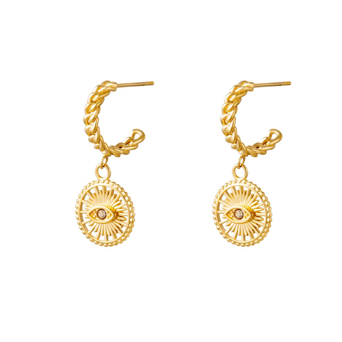 Oorbellen Eye See goud gouden oorbellen oogbedel diamand trendy dames yehwang sieraden kopen bestellen
