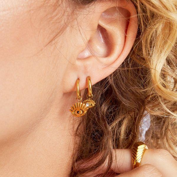 Oorbellen Eye Suprise goud gouden dames oorbellen met oog bedel rvs roest vrij stalen sieraden earrings kopen bestellen