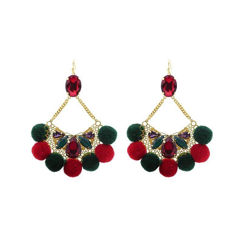 Oorbellen Pompon Glam rood rode statement oorbellen met stenen wollen bolletjes yehwang sieraden kopen bestellen