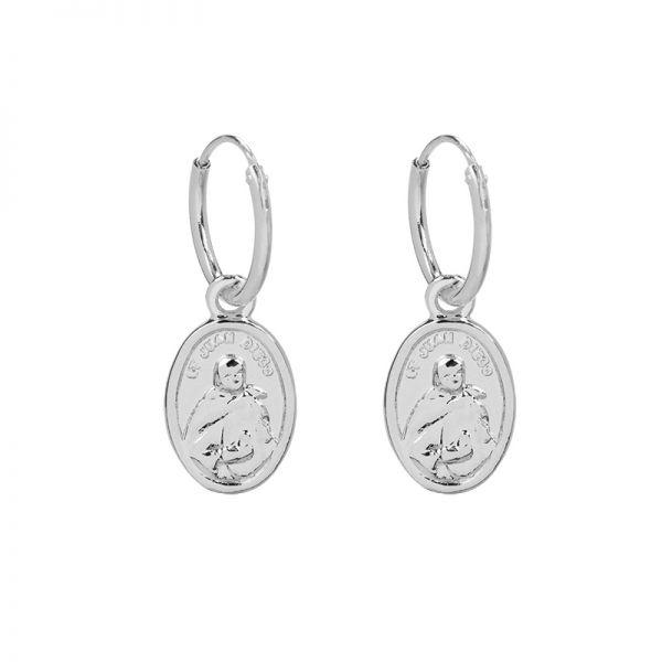 Oorbellen Saint-Mary-zilver-zilveren-dames heilige maria oorbel kopen yehwang sieraden bestellen achterkant