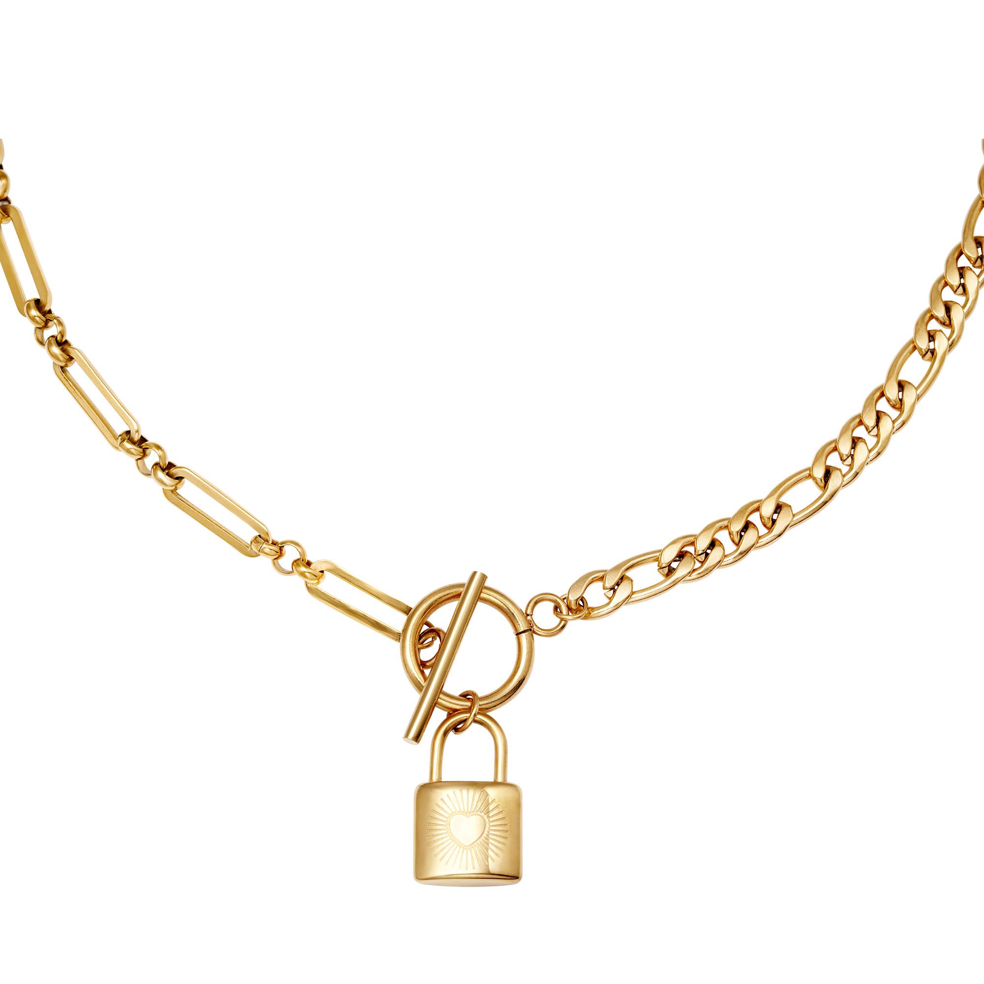 Schakelketting Chain & Lock goud gouden schakelketting slot bedel met hartje yehwang sieraden kopen bestellen trendy