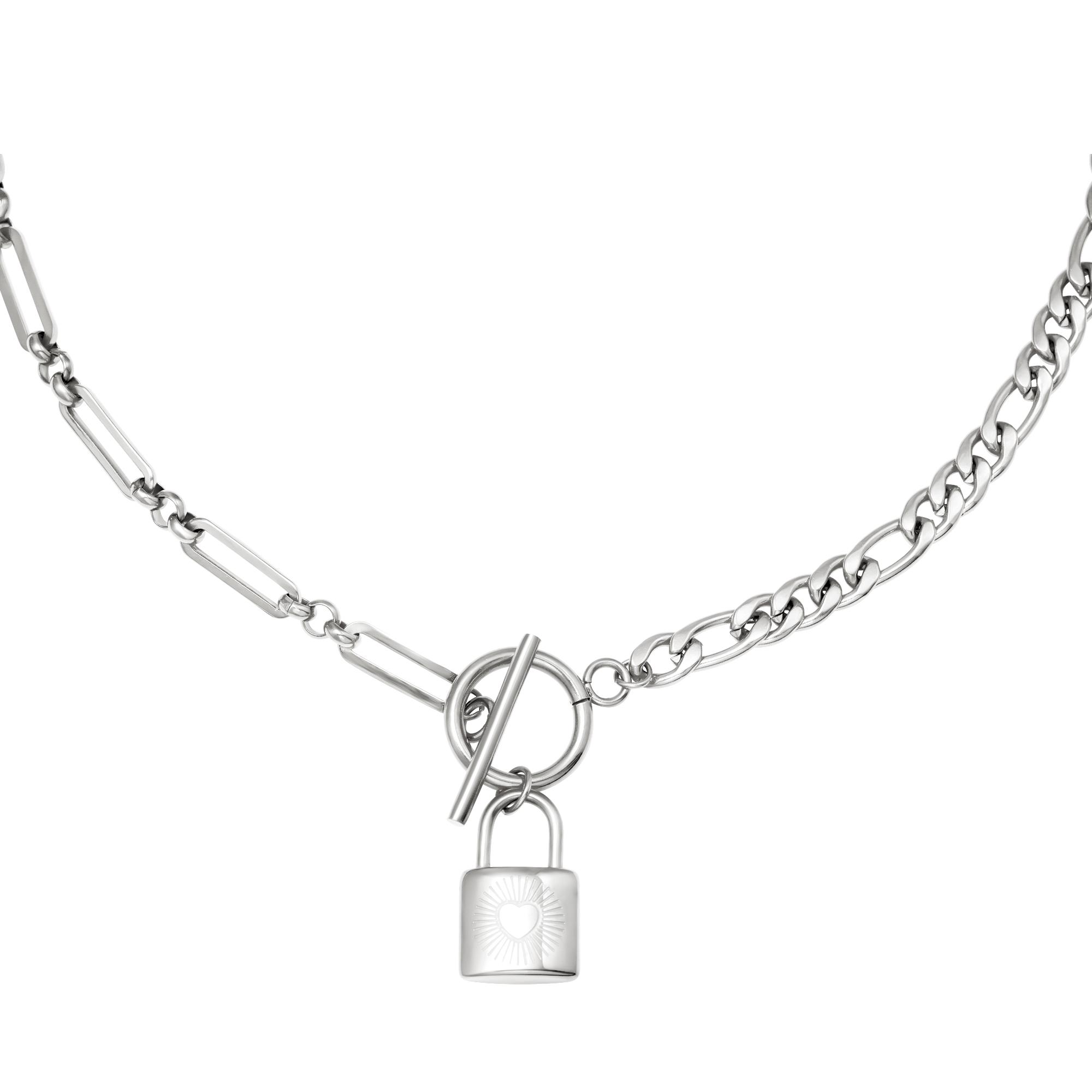 Schakelketting Chain & Lock zilver zilveren schakelketting slot bedel met hartje yehwng sieraden kopen bestellen