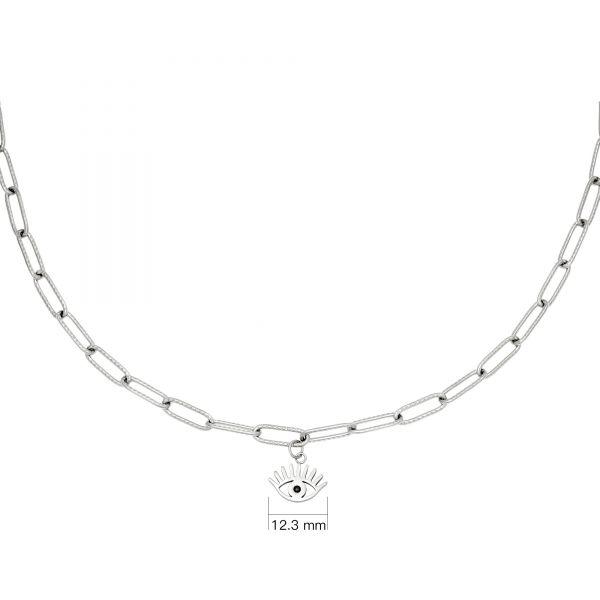 Schakelketting Eye Suprise zilver zilveren schakelketting oog bedel rvs roest vrij stalen sieraden kettingen bestellen kopen
