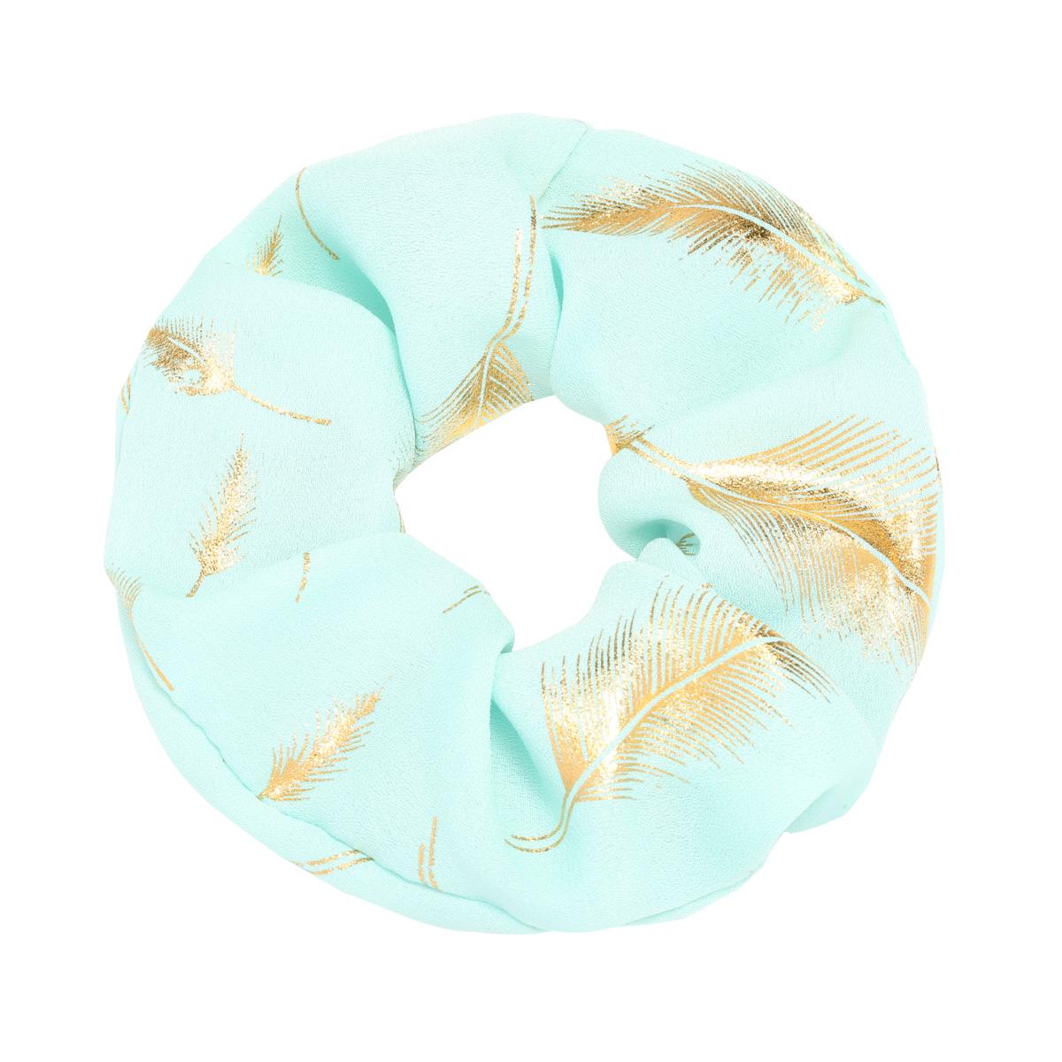 Scrunchie Golden Feather mint turquoise haarbanden gouden veren print dames haar accessoires kopen bestellen