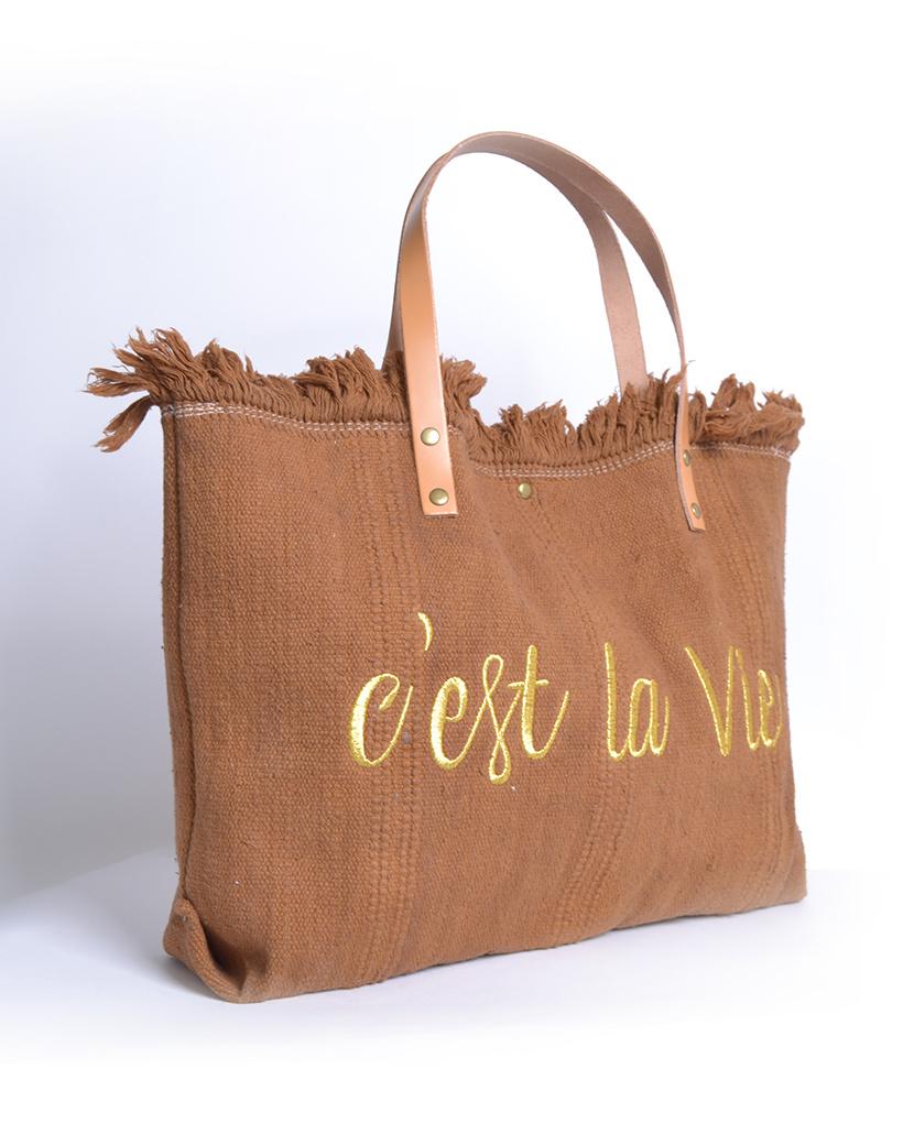 Strandtas c'est la vie bruin bruine Canvas strandtassen met tekst leren bandjes trendy zomer bags beachbags kopen bestellen