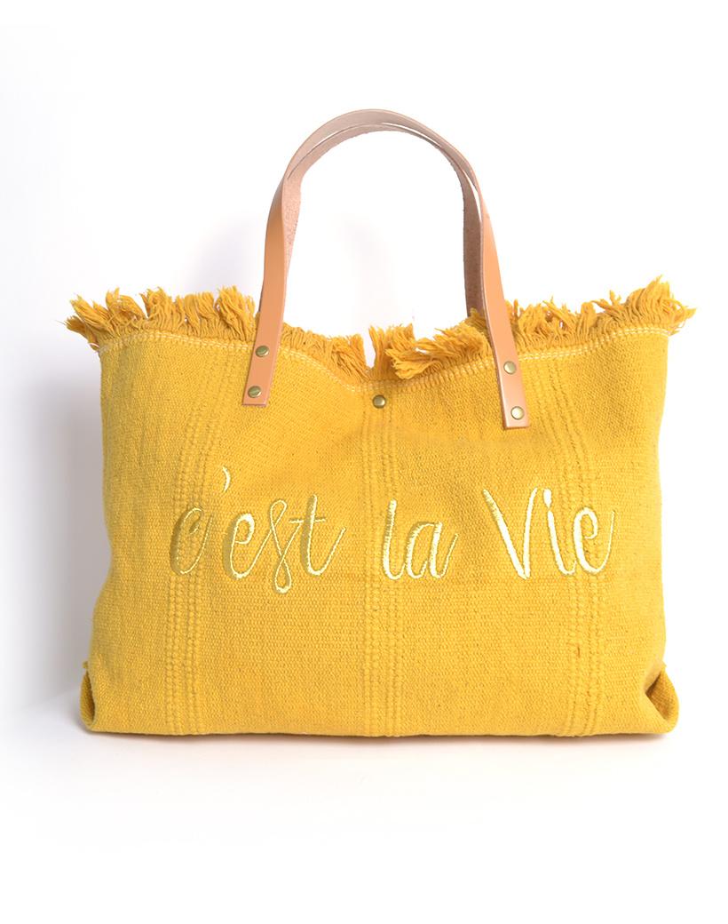 Strandtas c'est la vie geel gele Canvas strandtassen met tekst leren bandjes trendy zomer bags beachbags kopen bestellen